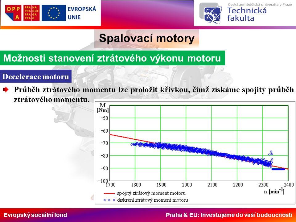 Evropský sociální fond Praha & EU: Investujeme do vaší budoucnosti Možnosti stanovení ztrátového výkonu motoru Decelerace motoru Průběh ztrátového momentu lze proložit křivkou, čímž získáme spojitý průběh ztrátového momentu.