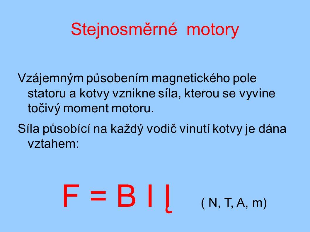 Stejnosměrné motory Vzájemným působením magnetického pole statoru a kotvy vznikne síla, kterou se vyvine točivý moment motoru. Síla působící na každý