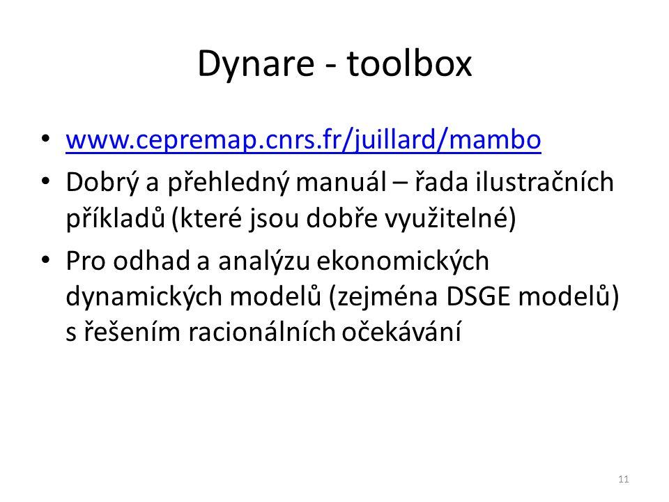 Dynare - toolbox www.cepremap.cnrs.fr/juillard/mambo Dobrý a přehledný manuál – řada ilustračních příkladů (které jsou dobře využitelné) Pro odhad a analýzu ekonomických dynamických modelů (zejména DSGE modelů) s řešením racionálních očekávání 11