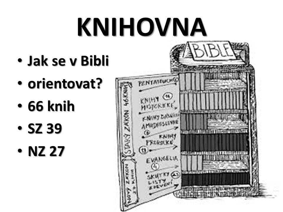 KNIHOVNA Jak se v Bibli Jak se v Bibli orientovat? orientovat? 66 knih 66 knih SZ 39 SZ 39 NZ 27 NZ 27