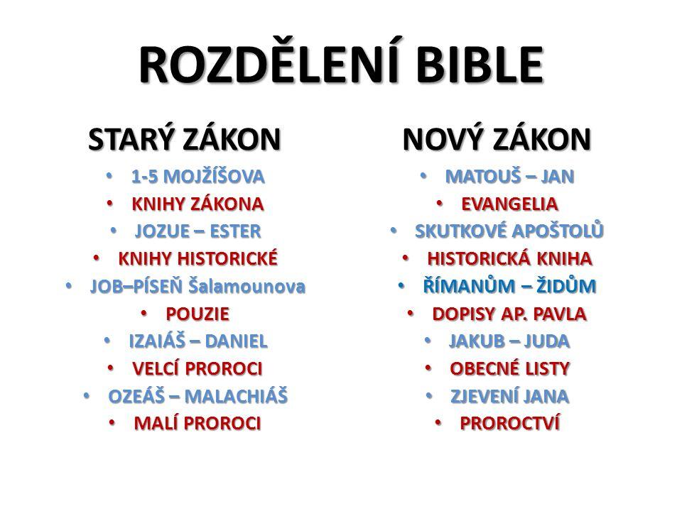 ROZDĚLENÍ BIBLE STARÝ ZÁKON 1-5 MOJŽÍŠOVA 1-5 MOJŽÍŠOVA KNIHY ZÁKONA KNIHY ZÁKONA JOZUE – ESTER JOZUE – ESTER KNIHY HISTORICKÉ KNIHY HISTORICKÉ JOB–PÍ