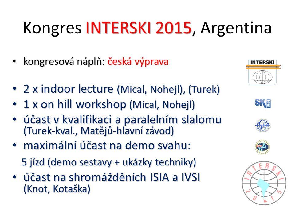 INTERSKI 2015 Kongres INTERSKI 2015, Argentina kongresová náplň: česká výprava kongresová náplň: česká výprava 2 x indoor lecture (Mical, Nohejl), (Turek) 2 x indoor lecture (Mical, Nohejl), (Turek) 1 x on hill workshop (Mical, Nohejl) 1 x on hill workshop (Mical, Nohejl) účast v kvalifikaci a paralelním slalomu (Turek-kval., Matějů-hlavní závod) účast v kvalifikaci a paralelním slalomu (Turek-kval., Matějů-hlavní závod) maximální účast na demo svahu: maximální účast na demo svahu: 5 jízd (demo sestavy + ukázky techniky) 5 jízd (demo sestavy + ukázky techniky) účast na shromážděních ISIA a IVSI (Knot, Kotaška) účast na shromážděních ISIA a IVSI (Knot, Kotaška)