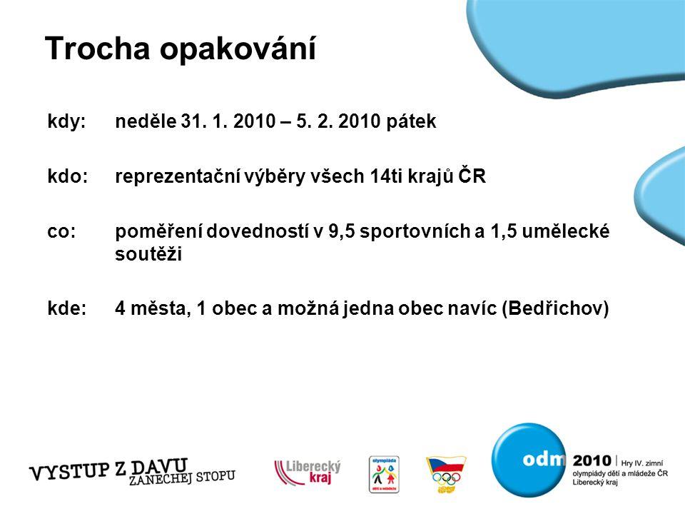 Trocha opakování kdy:neděle 31. 1. 2010 – 5. 2. 2010 pátek kdo:reprezentační výběry všech 14ti krajů ČR co:poměření dovedností v 9,5 sportovních a 1,5