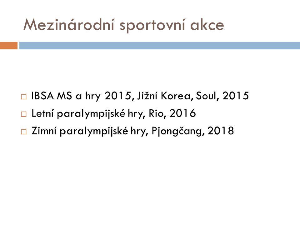 Mezinárodní sportovní akce  IBSA MS a hry 2015, Jižní Korea, Soul, 2015  Letní paralympijské hry, Rio, 2016  Zimní paralympijské hry, Pjongčang, 2018