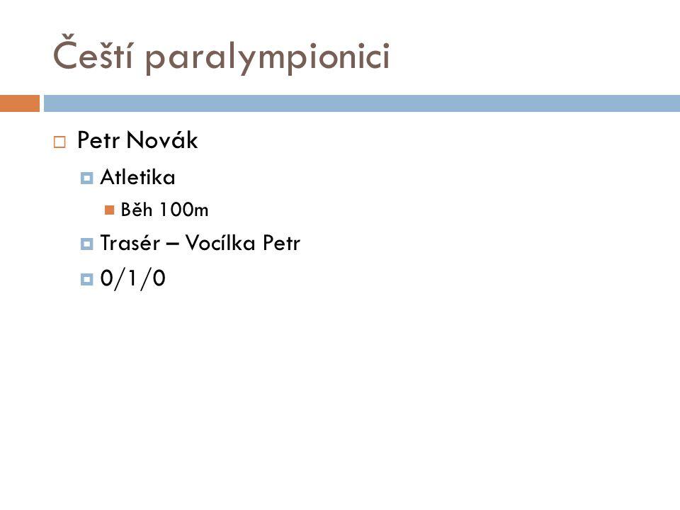 Čeští paralympionici  Petr Novák  Atletika Běh 100m  Trasér – Vocílka Petr  0/1/0