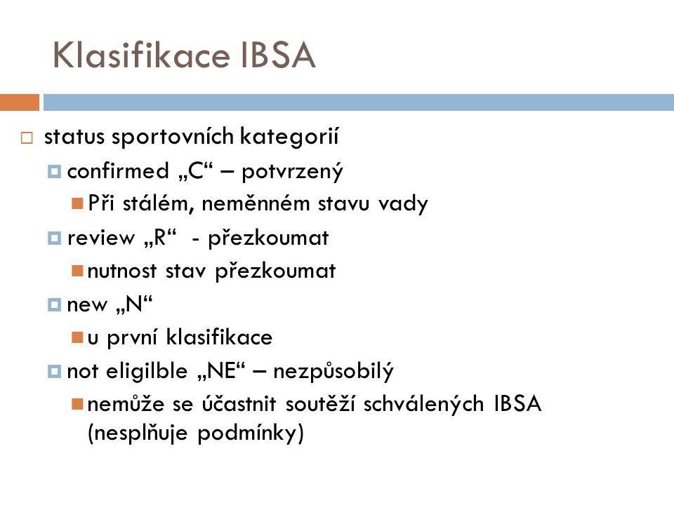 """Klasifikace IBSA  status sportovních kategorií  confirmed """"C – potvrzený Při stálém, neměnném stavu vady  review """"R - přezkoumat nutnost stav přezkoumat  new """"N u první klasifikace  not eligilble """"NE – nezpůsobilý nemůže se účastnit soutěží schválených IBSA (nesplňuje podmínky)"""