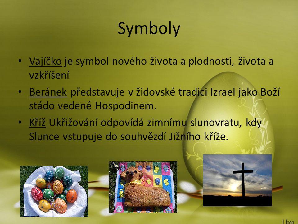 Symboly Vajíčko je symbol nového života a plodnosti, života a vzkříšení Beránek představuje v židovské tradici Izrael jako Boží stádo vedené Hospodinem.