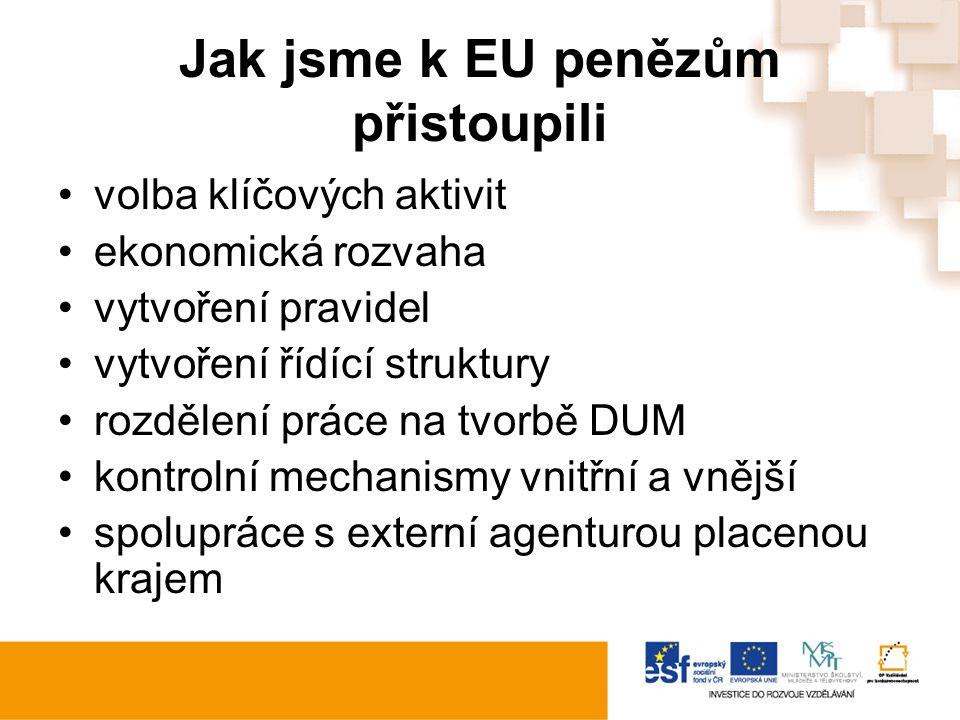 Jak jsme k EU penězům přistoupili volba klíčových aktivit ekonomická rozvaha vytvoření pravidel vytvoření řídící struktury rozdělení práce na tvorbě DUM kontrolní mechanismy vnitřní a vnější spolupráce s externí agenturou placenou krajem