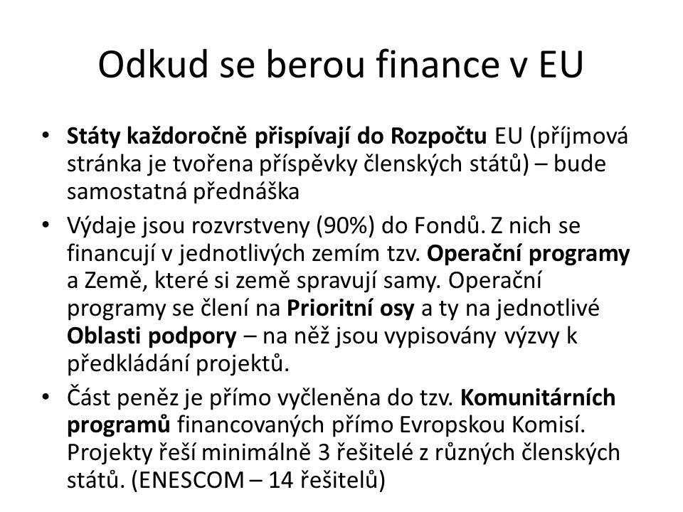 Odkud se berou finance v EU Státy každoročně přispívají do Rozpočtu EU (příjmová stránka je tvořena příspěvky členských států) – bude samostatná přednáška Výdaje jsou rozvrstveny (90%) do Fondů.