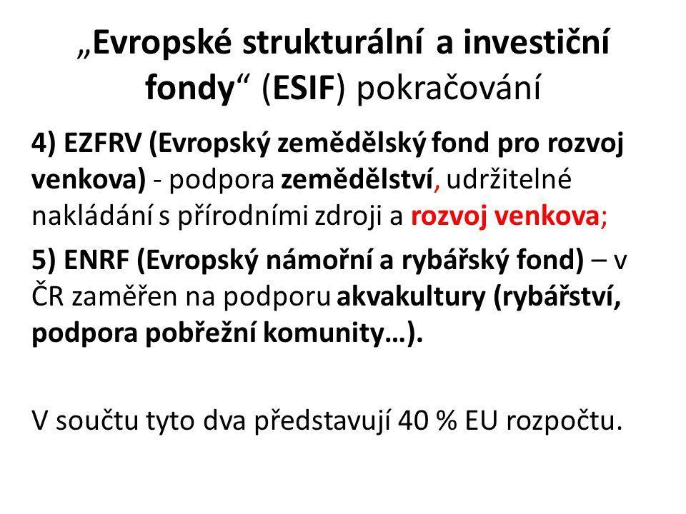 """""""Evropské strukturální a investiční fondy (ESIF) pokračování 4) EZFRV (Evropský zemědělský fond pro rozvoj venkova) - podpora zemědělství, udržitelné nakládání s přírodními zdroji a rozvoj venkova; 5) ENRF (Evropský námořní a rybářský fond) – v ČR zaměřen na podporu akvakultury (rybářství, podpora pobřežní komunity…)."""