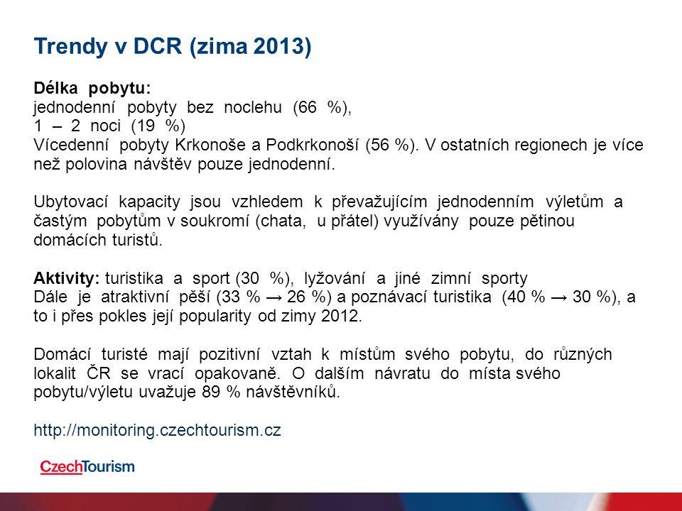 Trendy v DCR (zima 2013) Délka pobytu: jednodenní pobyty bez noclehu (66 %), 1 – 2 noci (19 %) Vícedenní pobyty Krkonoše a Podkrkonoší (56 %).