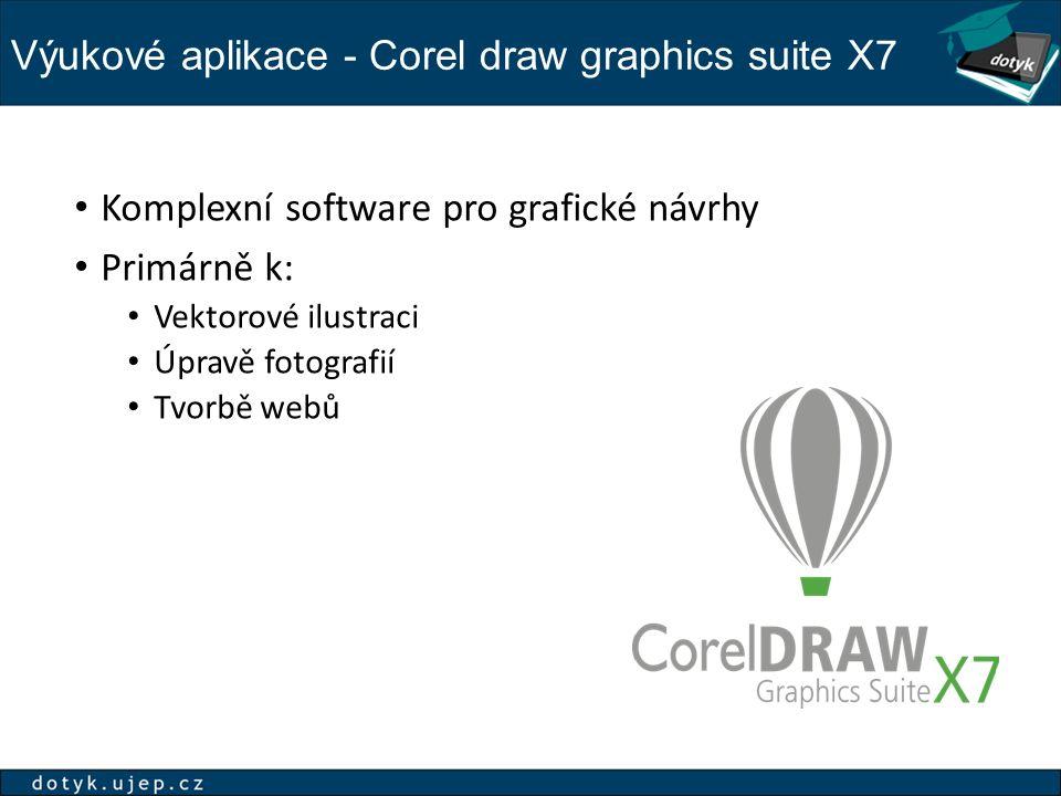 Výukové aplikace - Corel draw graphics suite X7 Komplexní software pro grafické návrhy Primárně k: Vektorové ilustraci Úpravě fotografií Tvorbě webů