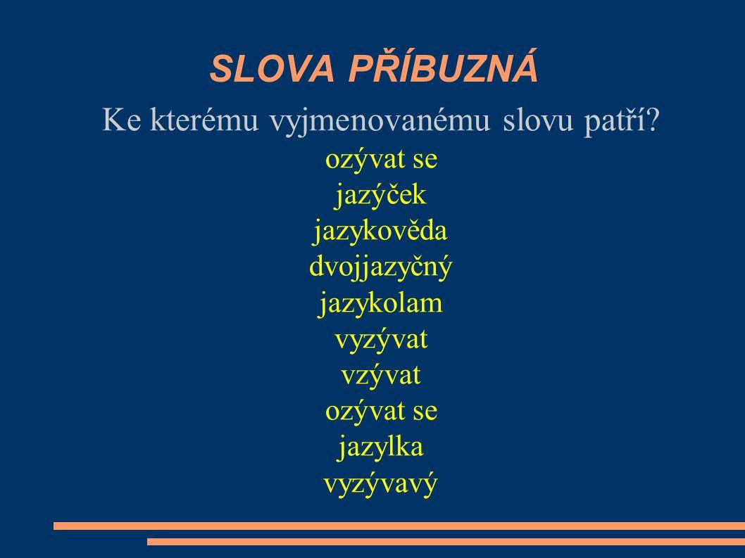 POZOR! brzy – brzičko nazývat se ( mít název) – nazívat se (hodně zívat únavou) Vytvoř věty.