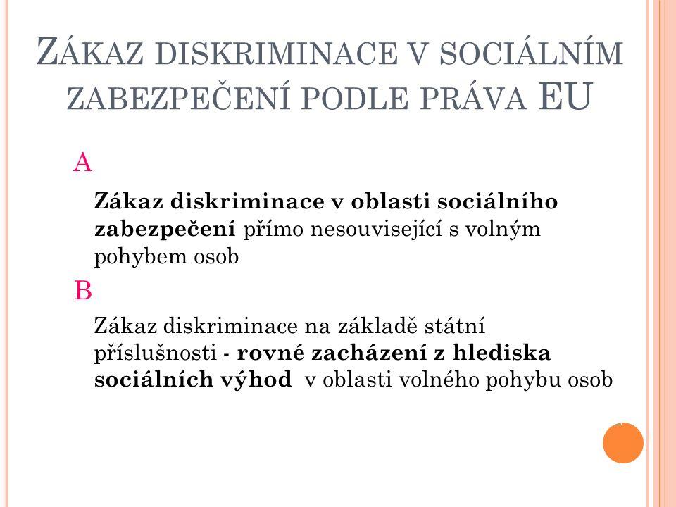 A SOCIÁLNÍ ZABEZPEČENÍ – NESOUVISEJÍCÍ S VOLNÝM POHYBEM OSOB Právní základ ve směrnicích EU Rovnost mezi muži a ženami: směrnice Rady 79/7/EHS o postupném zavedení zásady rovného zacházení pro muže a ženy v oblasti sociálního zabezpečení směrnice EP a Rady 2006/54/ES o zavedení zásady rovných příležitostí a rovného zacházení pro muže a ženy v oblasti zaměstnání a povolání – převzala ustanovení dřívějších směrnic Základní systém SZ - Směrnice 79/7/EHS důchodové pojištění – převzato v z.