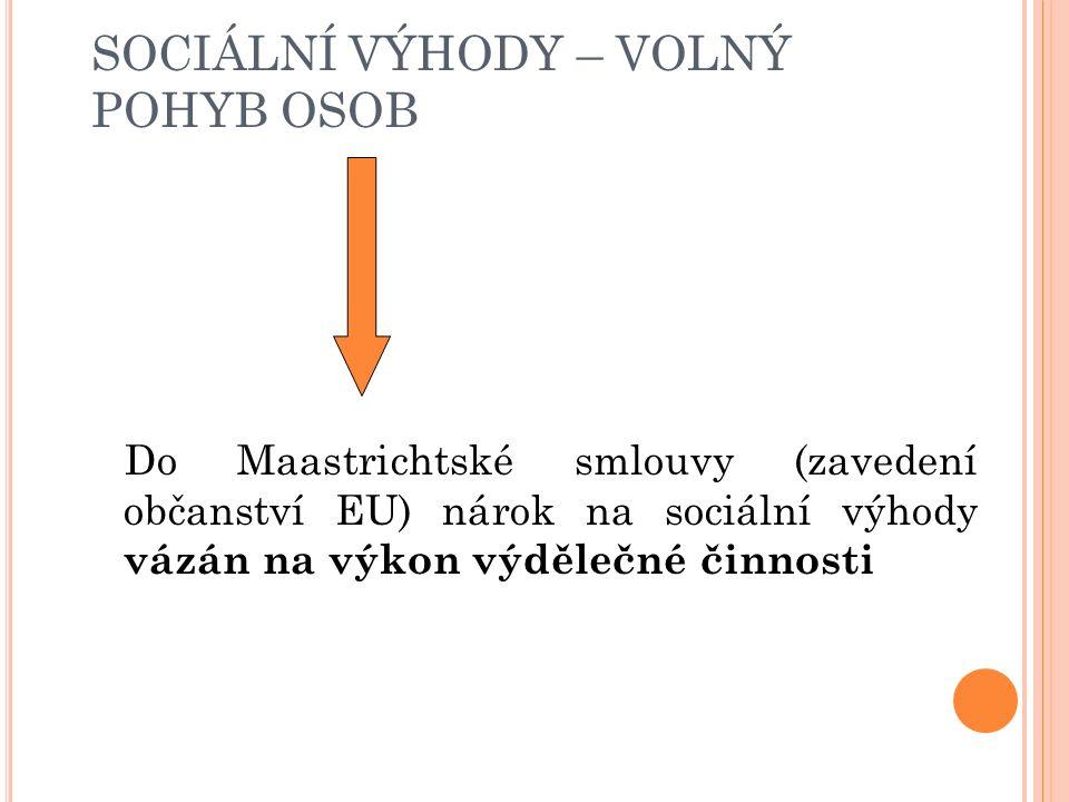 SOCIÁLNÍ VÝHODY – VOLNÝ POHYB OSOB Vývoj po Maastrichtské smlouvě(1992) Zavedení občanství EU: zákaz diskriminace z důvodu státní příslušnosti zákaz diskriminace v oblasti sociálních výhod vztažen i na jiné osoby než výdělečně činné ALE : směrnice 2004/38/ES: posuny v judikatuře týkající se sociálních výhod plně nereflektuje (čl.