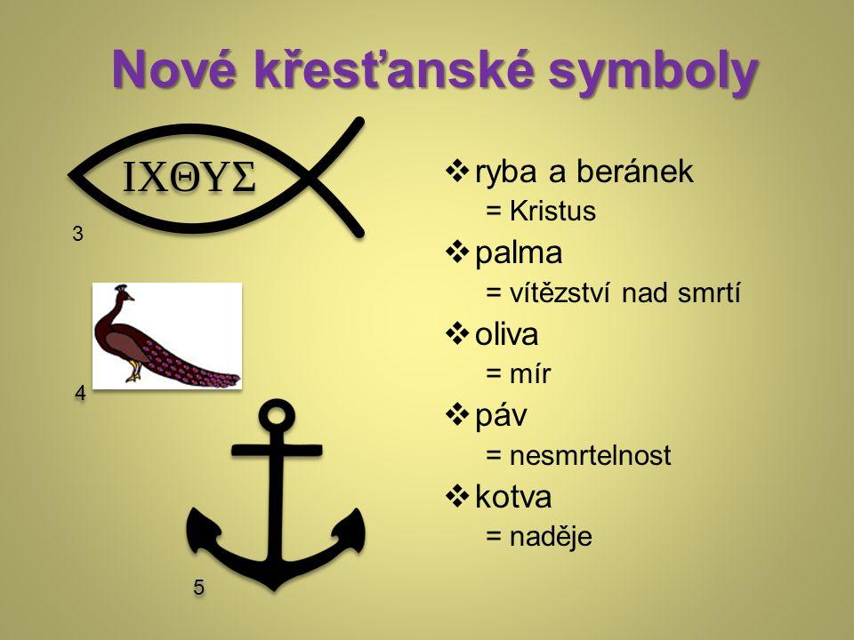 Nové křesťanské symboly  ryba a beránek = Kristus  palma = vítězství nad smrtí  oliva = mír  páv = nesmrtelnost  kotva = naděje 3