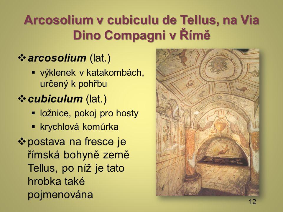 Arcosolium v cubiculu de Tellus, na Via Dino Compagni v Římě  arcosolium (lat.)  výklenek v katakombách, určený k pohřbu  cubiculum (lat.)  ložnice, pokoj pro hosty  krychlová komůrka  postava na fresce je římská bohyně země Tellus, po níž je tato hrobka také pojmenována 12