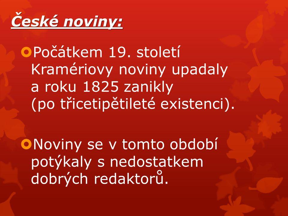 České noviny:  Počátkem 19.