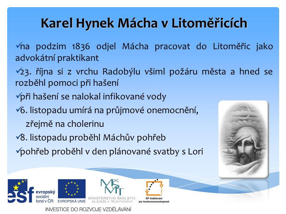 Tvorba Karla Hynka Máchy byl to nejvýznamnější představitel českého romantismu a zakladatel moderní české poezie první básně psal německy jeho dílo nebylo tehdejší kritikou přijato ve tvorbě se odrazila jeho vášeň pro cestování, všude chodil pěšky (Bezděz, Krkonoše, Itálie) velice rád navštěvoval zříceniny a své knihy sám ilustroval.