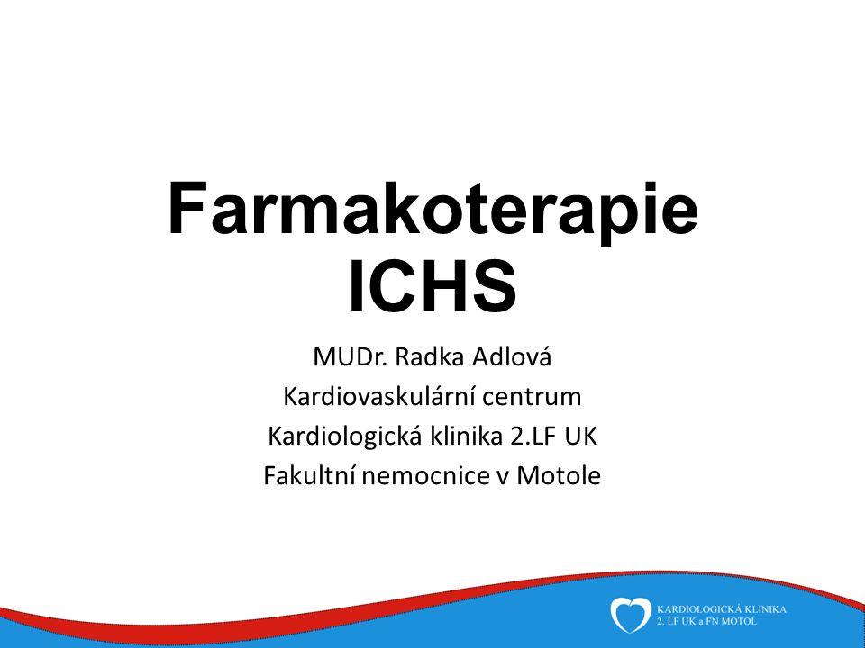 Farmakoterapie stabilní ICHS Nitráty Nežádoucí účinky: bolesti hlavy palpitace tachykardie tolerance
