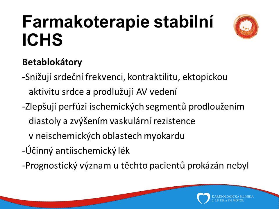 Farmakoterapie stabilní ICHS Betablokátory -Snižují srdeční frekvenci, kontraktilitu, ektopickou aktivitu srdce a prodlužují AV vedení -Zlepšují perfúzi ischemických segmentů prodloužením diastoly a zvýšením vaskulární rezistence v neischemických oblastech myokardu -Účinný antiischemický lék -Prognostický význam u těchto pacientů prokázán nebyl