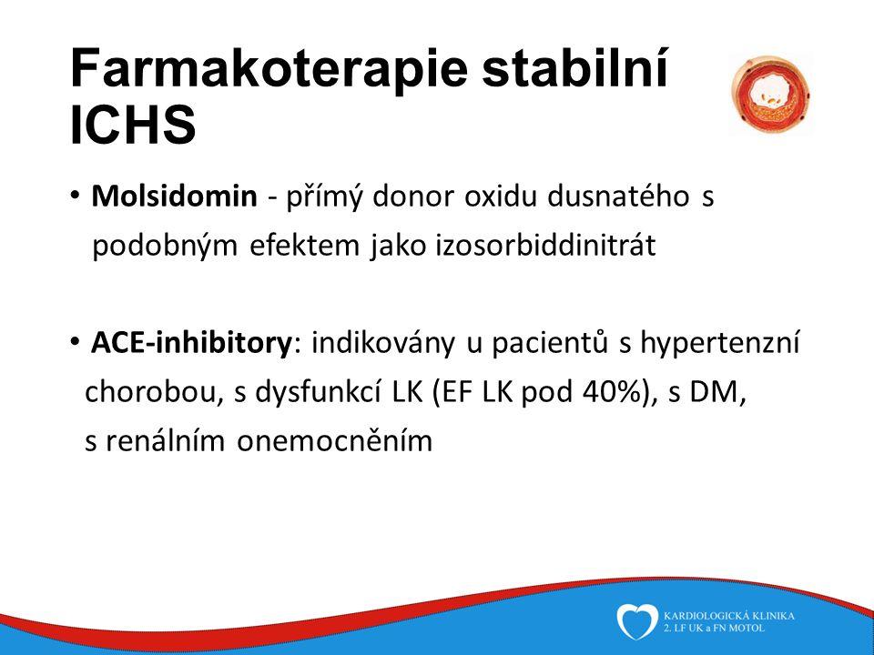 Farmakoterapie stabilní ICHS Molsidomin - přímý donor oxidu dusnatého s podobným efektem jako izosorbiddinitrát ACE-inhibitory: indikovány u pacientů s hypertenzní chorobou, s dysfunkcí LK (EF LK pod 40%), s DM, s renálním onemocněním