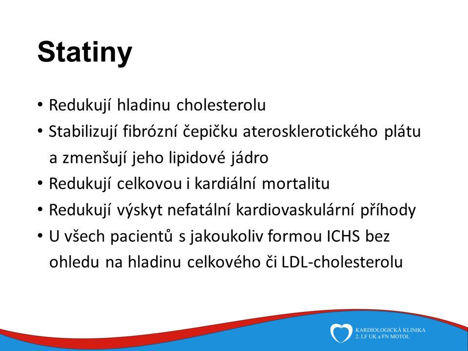 Statiny Redukují hladinu cholesterolu Stabilizují fibrózní čepičku aterosklerotického plátu a zmenšují jeho lipidové jádro Redukují celkovou i kardiální mortalitu Redukují výskyt nefatální kardiovaskulární příhody U všech pacientů s jakoukoliv formou ICHS bez ohledu na hladinu celkového či LDL-cholesterolu