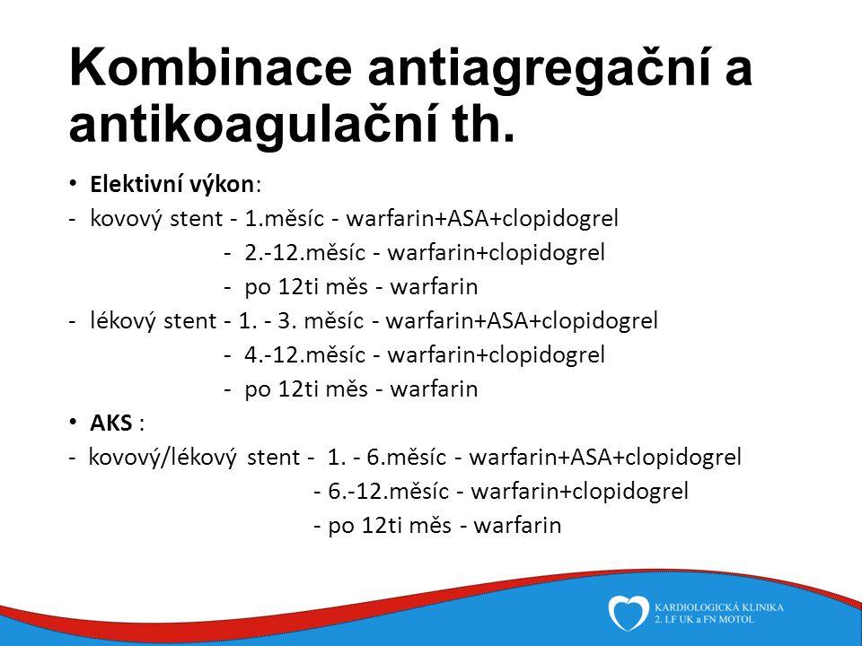 Kombinace antiagregační a antikoagulační th.
