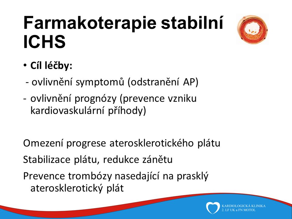 Farmakoterapie stabilní ICHS Cíl léčby: - ovlivnění symptomů (odstranění AP) -ovlivnění prognózy (prevence vzniku kardiovaskulární příhody) Omezení progrese aterosklerotického plátu Stabilizace plátu, redukce zánětu Prevence trombózy nasedající na prasklý aterosklerotický plát