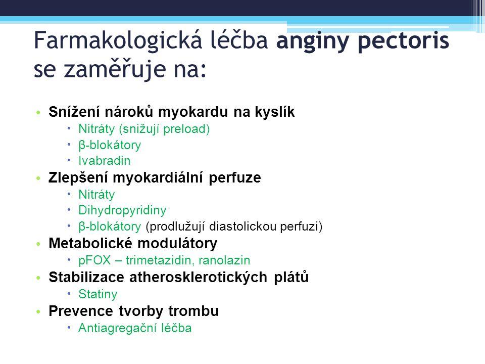 Farmakologická léčba anginy pectoris se zaměřuje na: Snížení nároků myokardu na kyslík  Nitráty (snižují preload)  β-blokátory  Ivabradin Zlepšení