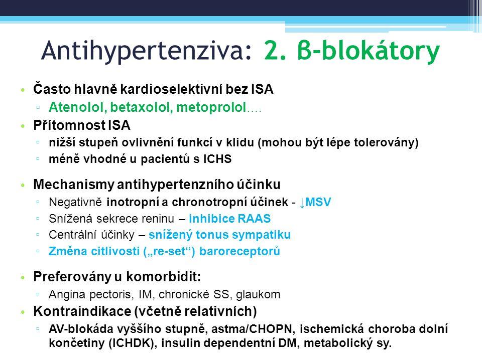 Antihypertenziva: 2. β-blokátory Často hlavně kardioselektivní bez ISA ▫ Atenolol, betaxolol, metoprolol …. Přítomnost ISA ▫ nižší stupeň ovlivnění fu