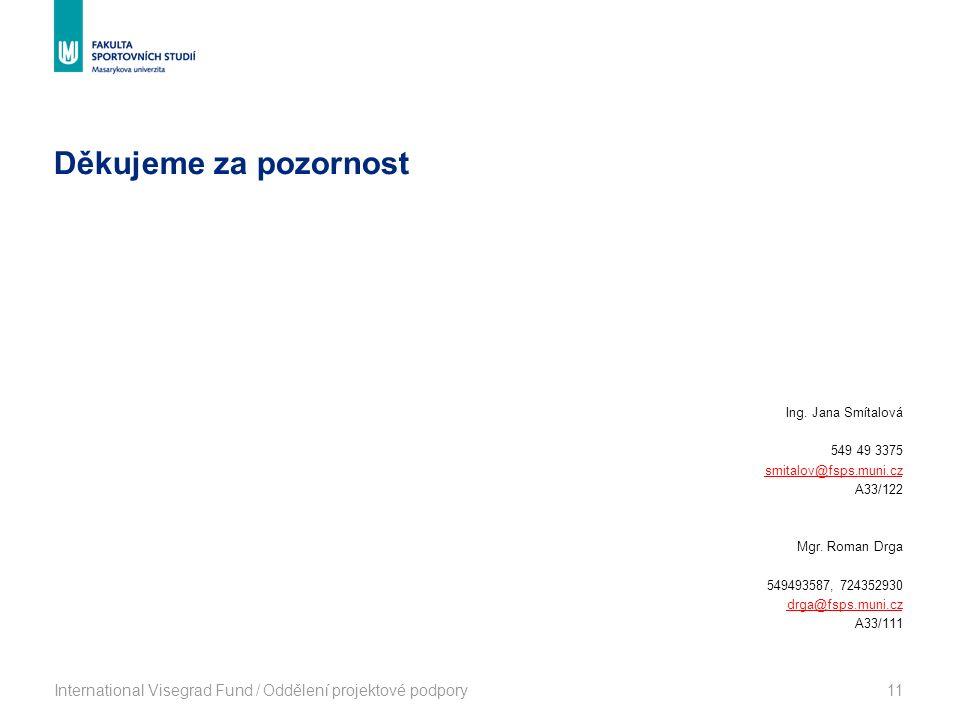 Děkujeme za pozornost International Visegrad Fund / Oddělení projektové podpory11 Ing. Jana Smítalová 549 49 3375 smitalov@fsps.muni.cz A33/122 Mgr. R