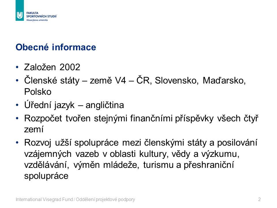 Obecné informace International Visegrad Fund / Oddělení projektové podpory2 Založen 2002 Členské státy – země V4 – ČR, Slovensko, Maďarsko, Polsko Úřední jazyk – angličtina Rozpočet tvořen stejnými finančními příspěvky všech čtyř zemí Rozvoj užší spolupráce mezi členskými státy a posilování vzájemných vazeb v oblasti kultury, vědy a výzkumu, vzdělávání, výměn mládeže, turismu a přeshraniční spolupráce