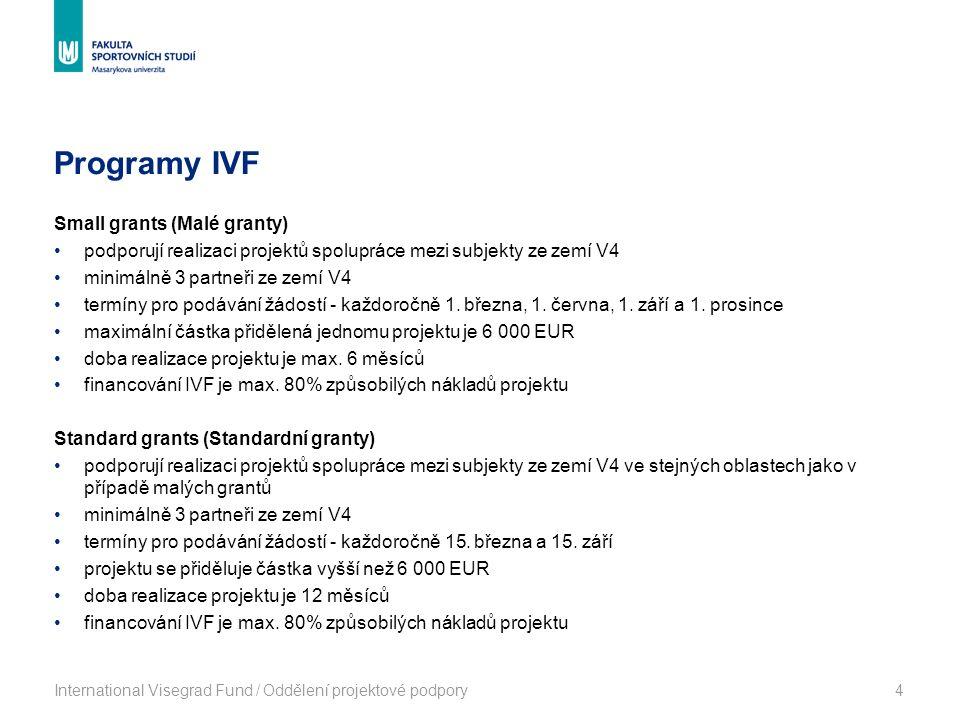 Programy IVF International Visegrad Fund / Oddělení projektové podpory4 Small grants (Malé granty) podporují realizaci projektů spolupráce mezi subjekty ze zemí V4 minimálně 3 partneři ze zemí V4 termíny pro podávání žádostí - každoročně 1.