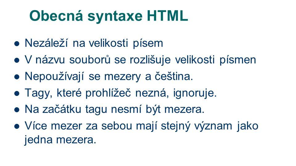 Obecná syntaxe HTML Nezáleží na velikosti písem V názvu souborů se rozlišuje velikosti písmen Nepoužívají se mezery a čeština.