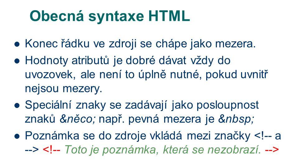 Obecná syntaxe HTML Konec řádku ve zdroji se chápe jako mezera.