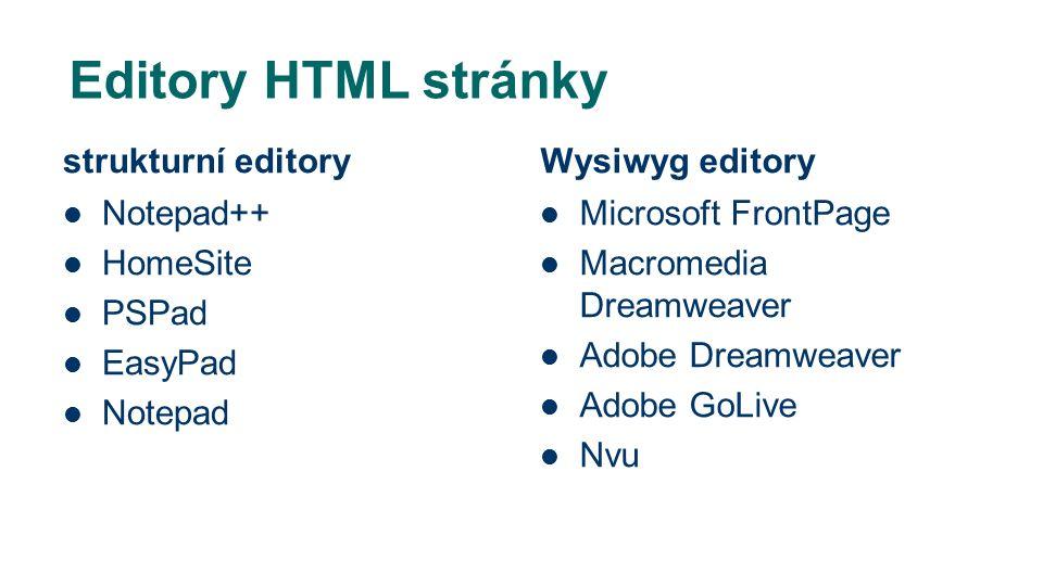 Editory HTML stránky strukturní editory Notepad++ HomeSite PSPad EasyPad Notepad Wysiwyg editory Microsoft FrontPage Macromedia Dreamweaver Adobe Dreamweaver Adobe GoLive Nvu