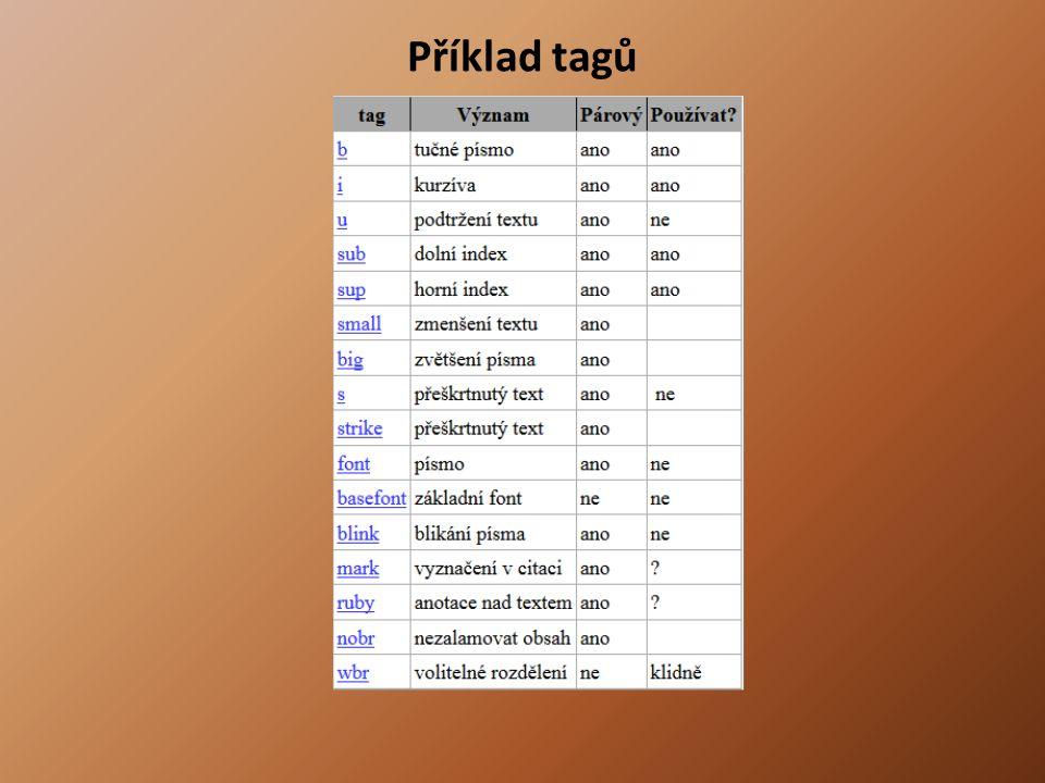 Příklad Titulek stránky Text stránky