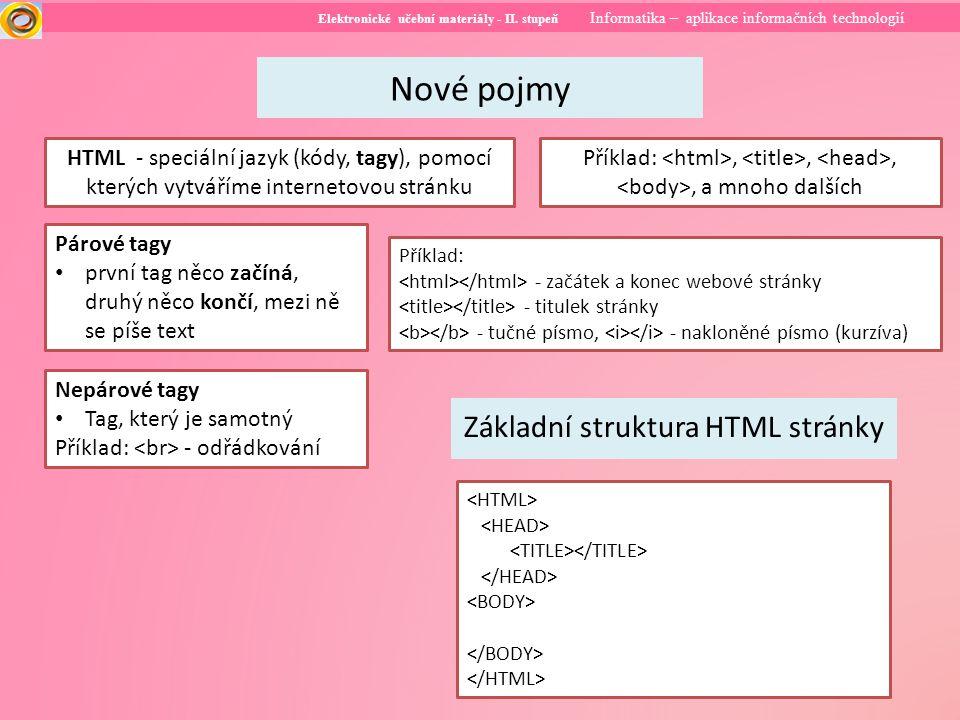 Elektronické učební materiály - II. stupeň Informatika – aplikace informačních technologií Nové pojmy HTML - speciální jazyk (kódy, tagy), pomocí kter