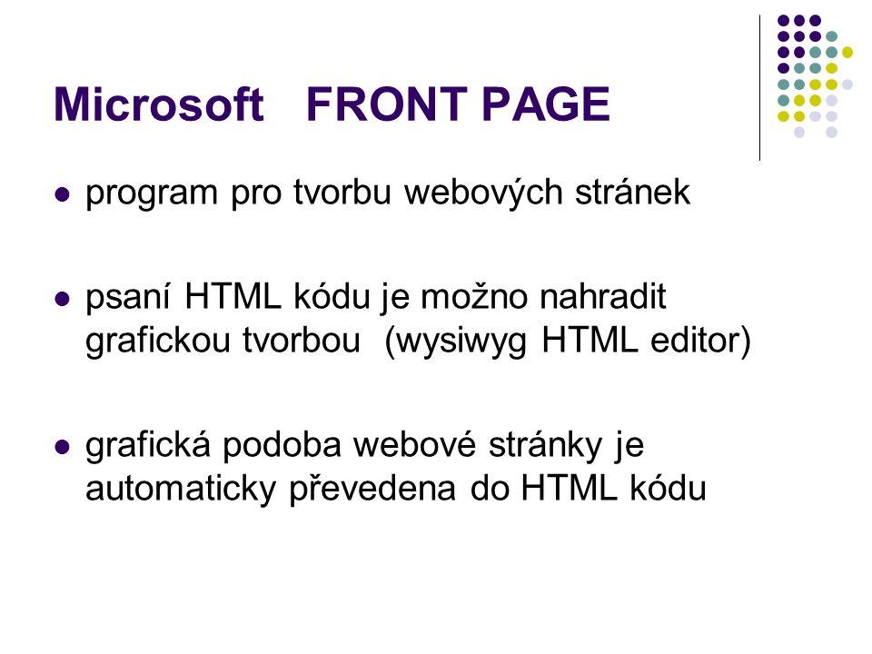 program pro tvorbu webových stránek psaní HTML kódu je možno nahradit grafickou tvorbou (wysiwyg HTML editor) grafická podoba webové stránky je automaticky převedena do HTML kódu Microsoft FRONT PAGE