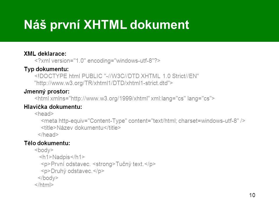 10 Náš první XHTML dokument XML deklarace: Typ dokumentu: Jmenný prostor: Hlavička dokumentu: Název dokumentu Tělo dokumentu: Nadpis První odstavec. T