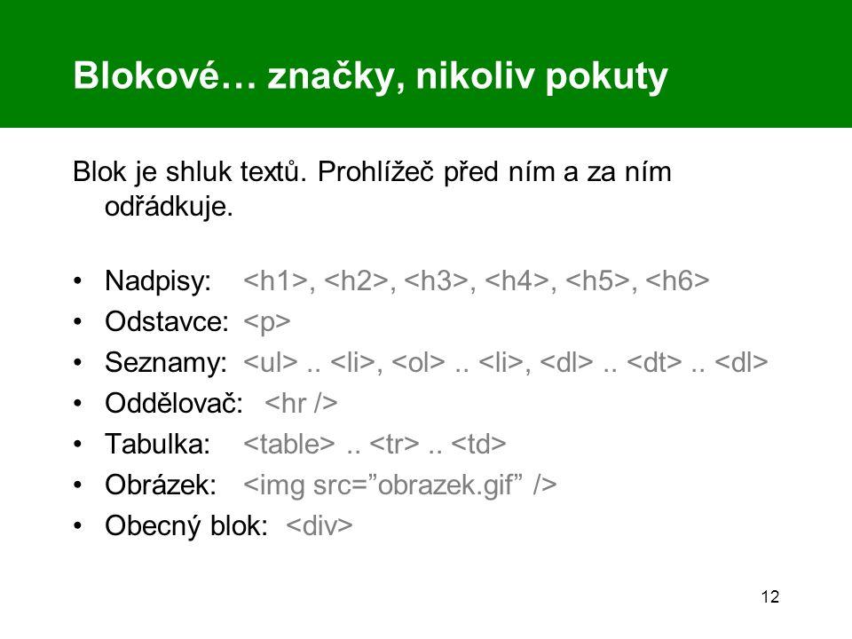 12 Blokové… značky, nikoliv pokuty Blok je shluk textů. Prohlížeč před ním a za ním odřádkuje. Nadpisy:,,,,, Odstavce: Seznamy:..,..,.... Oddělovač: T