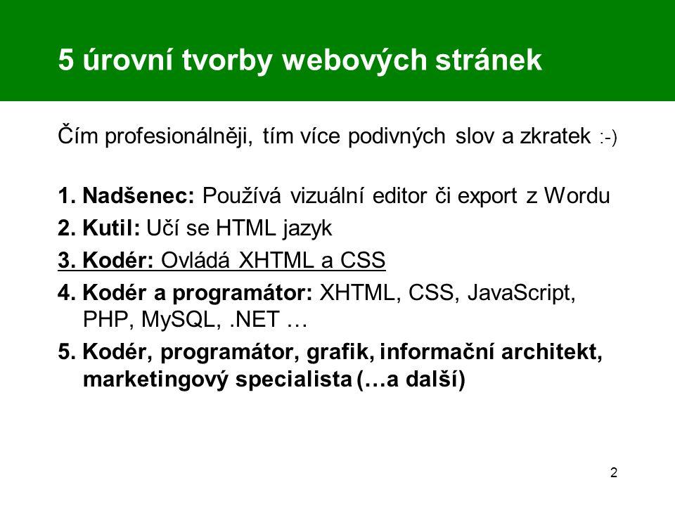 2 5 úrovní tvorby webových stránek Čím profesionálněji, tím více podivných slov a zkratek :-) 1. Nadšenec: Používá vizuální editor či export z Wordu 2