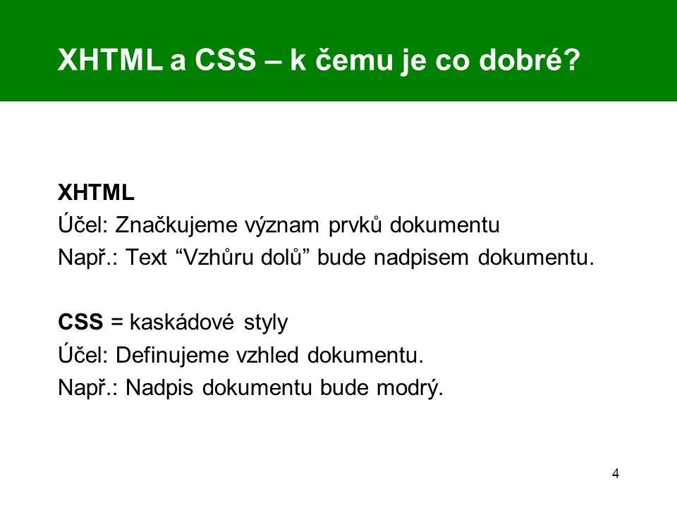 """4 XHTML a CSS – k čemu je co dobré? XHTML Účel: Značkujeme význam prvků dokumentu Např.: Text """"Vzhůru dolů"""" bude nadpisem dokumentu. CSS = kaskádové s"""
