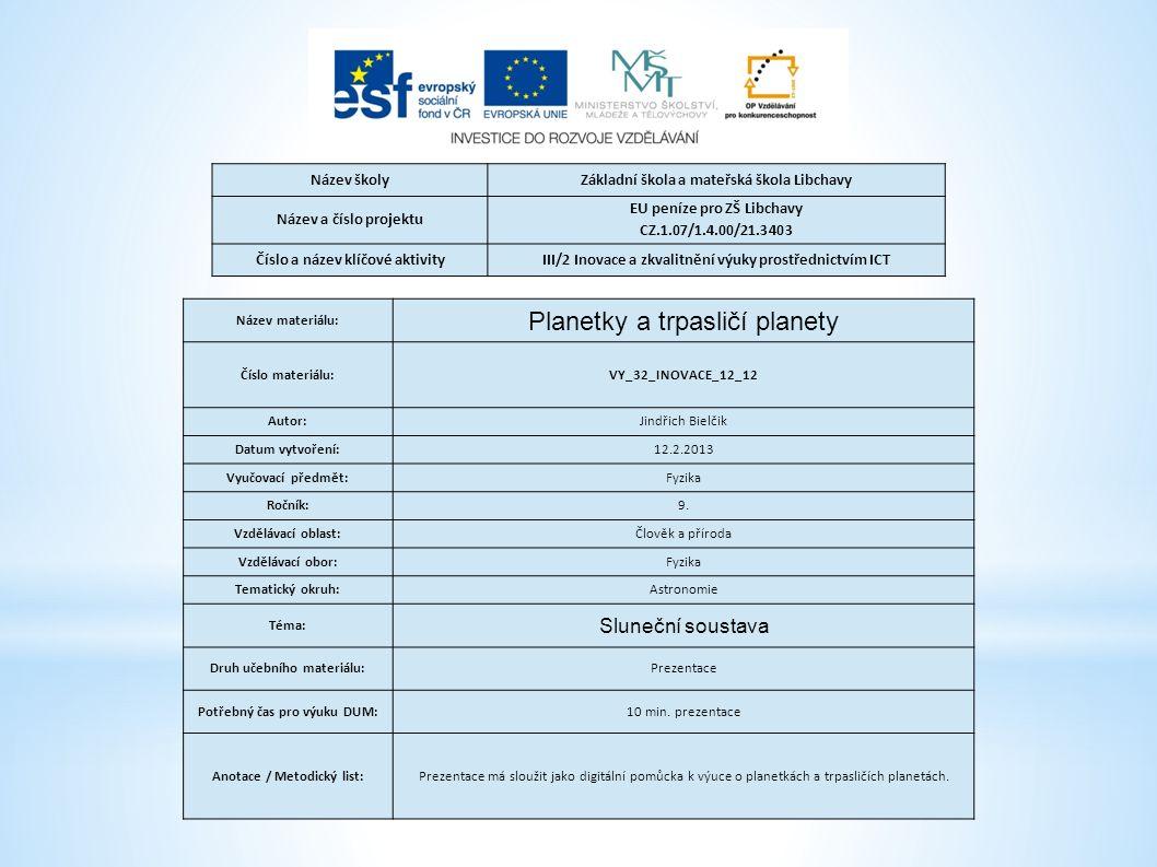 Název školyZákladní škola a mateřská škola Libchavy Název a číslo projektu EU peníze pro ZŠ Libchavy CZ.1.07/1.4.00/21.3403 Číslo a název klíčové akti