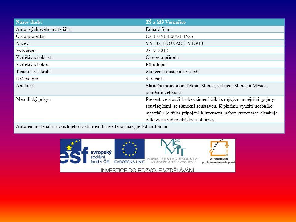 Název školy:ZŠ a MŠ Verneřice Autor výukového materiálu:Eduard Šram Číslo projektu:CZ.1.07/1.4.00/21.1526 Název:VY_32_INOVACE_V.NP13 Vytvořeno:23.