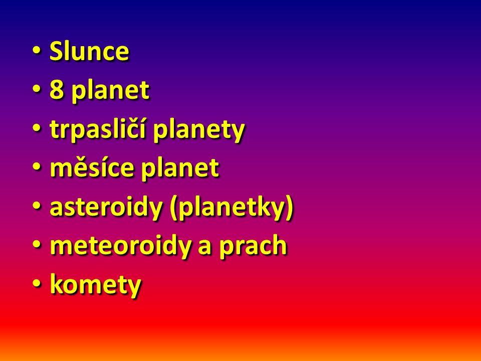 Slunce Slunce 8 planet 8 planet trpasličí planety trpasličí planety měsíce planet měsíce planet asteroidy (planetky) asteroidy (planetky) meteoroidy a prach meteoroidy a prach komety komety