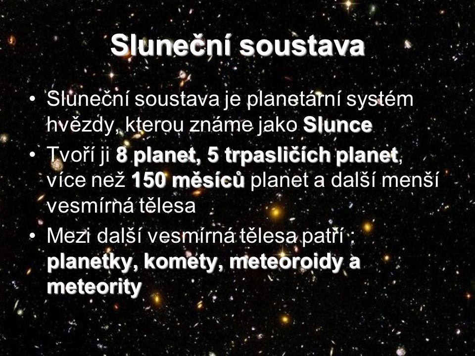 Planety Sluneční soustavy MerkurMerkur VenušeVenuše ZeměZemě MarsMars JupiterJupiter SaturnSaturn UranUran NeptunNeptun
