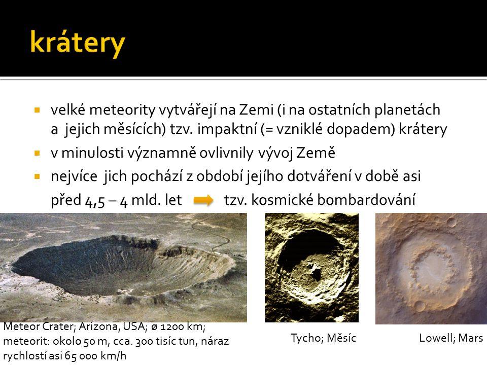  velké meteority vytvářejí na Zemi (i na ostatních planetách a jejich měsících) tzv. impaktní (= vzniklé dopadem) krátery  v minulosti významně ovli