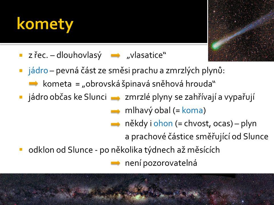 """ z řec. – dlouhovlasý """"vlasatice""""  jádro – pevná část ze směsi prachu a zmrzlých plynů: kometa = """"obrovská špinavá sněhová hrouda""""  jádro občas ke"""